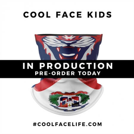Kids Size – Dominican Republic Flag Face Bandana